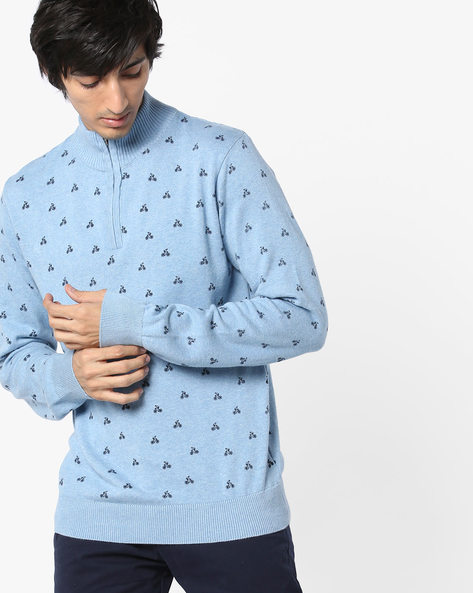 High-Neck Printed Pullover By Teamspirit ( Blue )