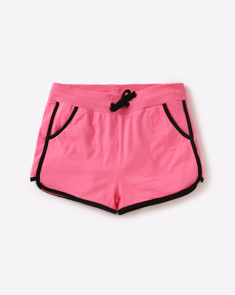 Dolphin Hem Shorts With Drawstring Waist By AJIO Girl ( Pink )