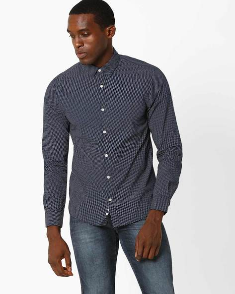 Printed Regular Fit Shirt By Celio ( Marine )