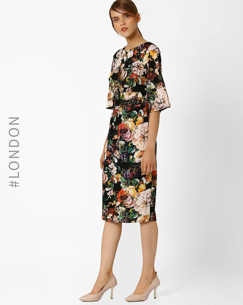 Floral Print Midi Dress With Kimono Sleeves By Closet London ( Black )