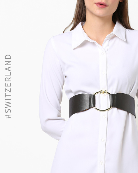 Textured Belt With Metal Accent By TRENDYOL ( Black )