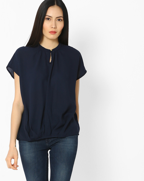 High-Neck Top With Gathers By Vero Moda ( Navy )