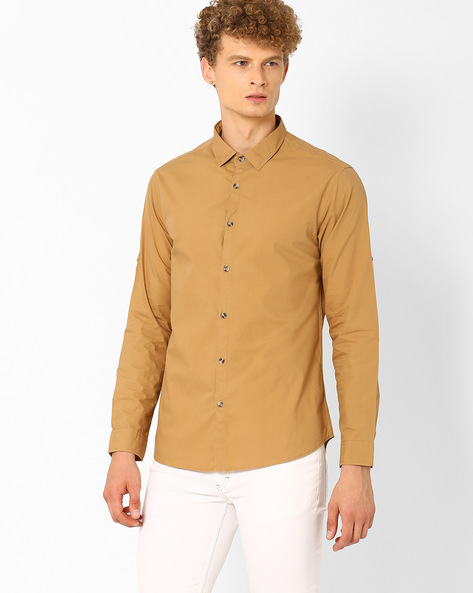 Slim Fit Smart Casual Shirt By AJIO ( Khaki )