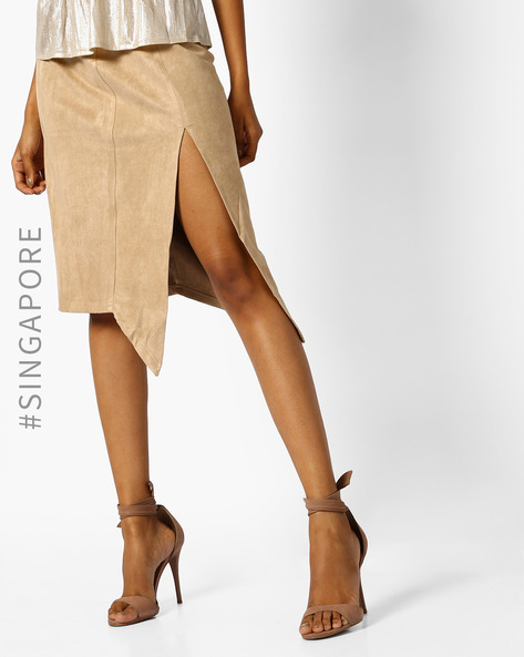 Suede Skirt With Side Slit By MDS ( Beige )