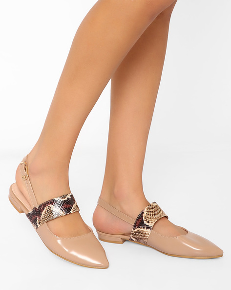 Sling-Back Almond-Toed Flats By MFT Couture ( Beige )
