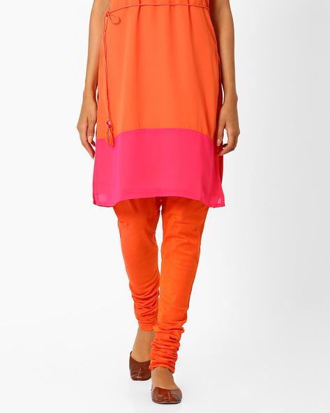 Churidar Pants With Drawstring Waist By AJIO ( Orange )