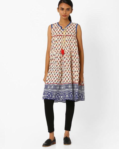 Floral Print Cotton Dress By Jiyaa ( Beige )