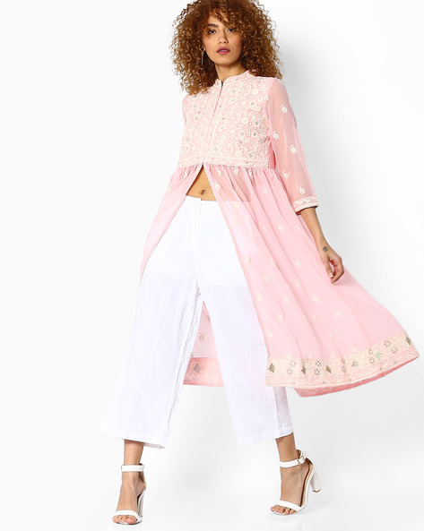 Sheer Kurta With Embroidery By Melange By Lifestyle ( Pink )
