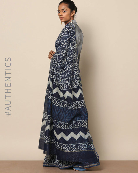 Handblock Indigo Print Chanderi Saree With Zari By Indie Picks ( Indigo ) - 460146812001