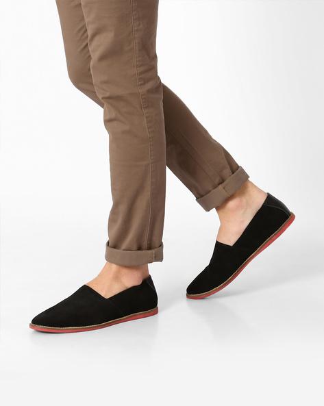 Genuine Leather Slip-Ons By AJIO ( Black )