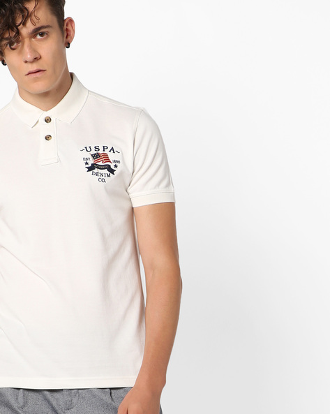 Polo T-shirt With Vented Hems By US POLO ( Ivory )