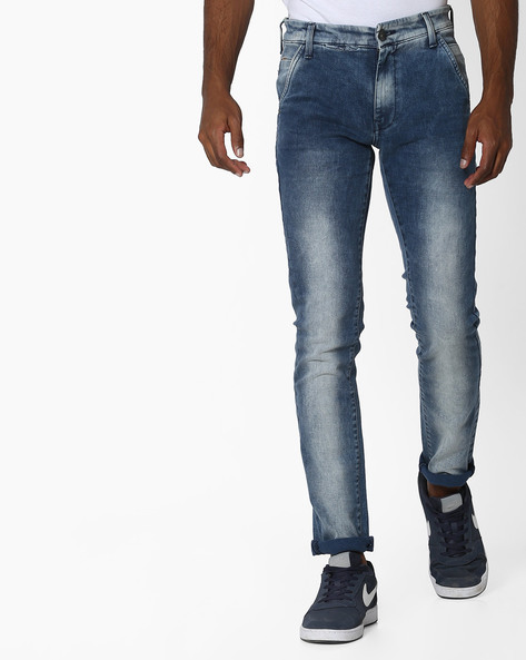 Mid-Rise Jeans With 4-pockets By UNITED COLORS OF BENETTON ( Blue )