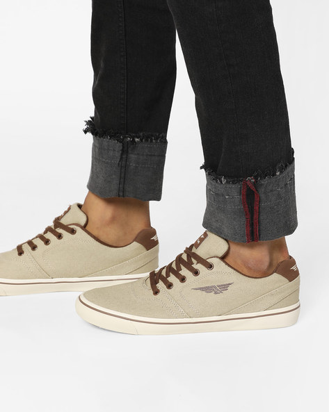 RED TAPE Light Khaki Lace-Ups Low-Top Lace-Up Canvas Shoes