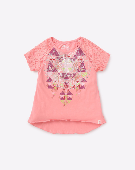 Printed High-Low T-shirt By POINT COVE ( Pink )
