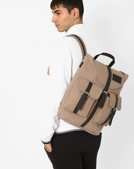 Backpack With Flap Pockets By FAMOZI ( Grey )