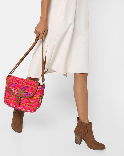 Jacquard Weave Sling Bag By Kanvas Katha ( Tan ) - 460124254001