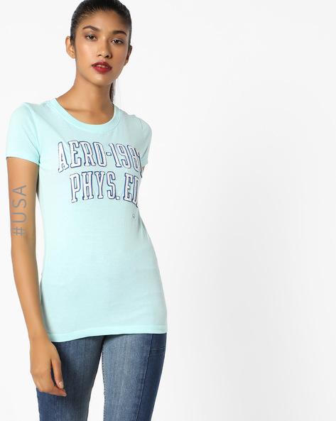 Crew-Neck T-Shirt With Appliqué Branding By Aeropostale ( Aqua )