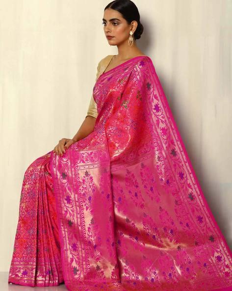 Patola-Style Brocade South Silk Saree By Pretty Woman ( Pink ) - 460092271001