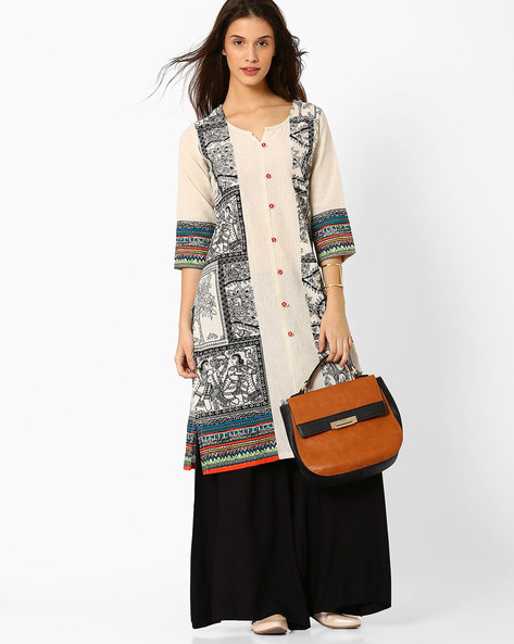 Printed Kurta With Mock Button Placket By AVAASA MIX N' MATCH ( Cream )
