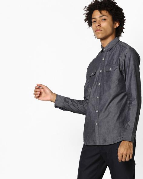 Slim Fit Shirt With Flap Pockets By AJIO ( Black )