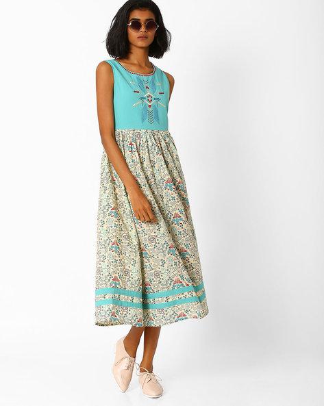 Printed Sleeveless Dress By AJIO ( Seagreen )