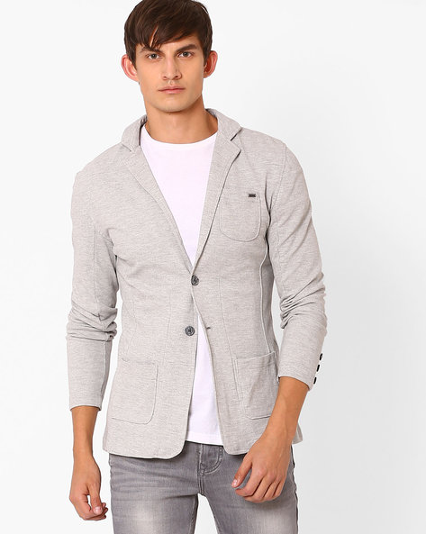 Knitted Blazer With Notched Lapel By TEAM SPIRIT ( Greymelange )