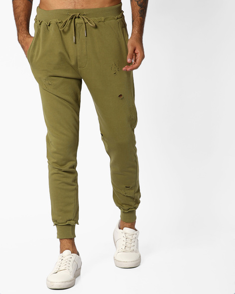 Distressed Mid-Rise Joggers By ADAMO LONDON ( Olive )
