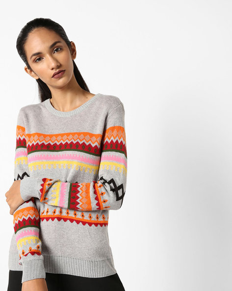 Printed Crew-Neck Pullover By AJIO ( Grey )