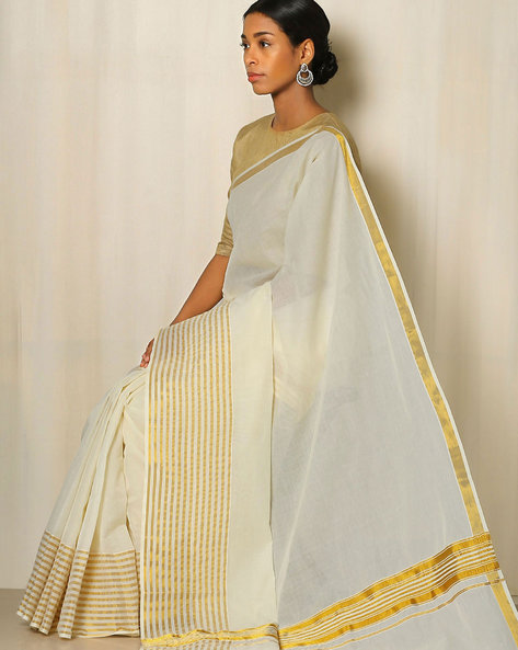Kerala Kasavu Cotton Saree By Indie Picks ( Offwhite )