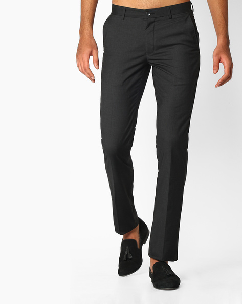 Slim Fit Flat-Front Trousers By NETWORK ( Charcoal ) - 440723706002