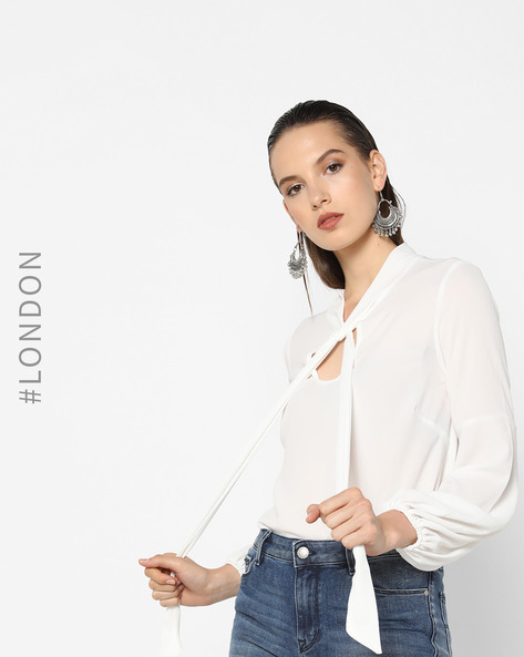 Blouse Top With Bishop Sleeves By Closet London ( White )