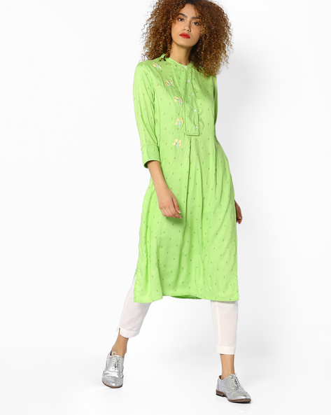 Leaf Print Kurta By AJIO ( Green )