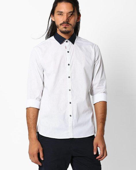 Printed Regular Fit Shirt By NETPLAY ( White )