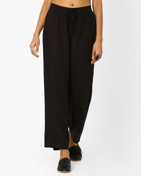 Palazzo Pants With Drawstring Fastening By AJIO ( Black )