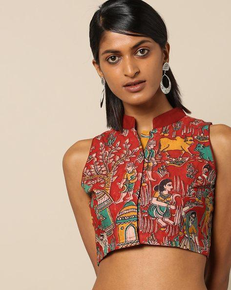 Kalamkari Print Sleeveless Mandarin Collar Cotton Blouse By Molcha ( Multi )