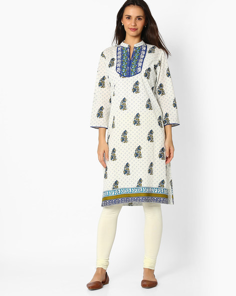 Floral Print Straight Kurta By Jiyaa ( White )