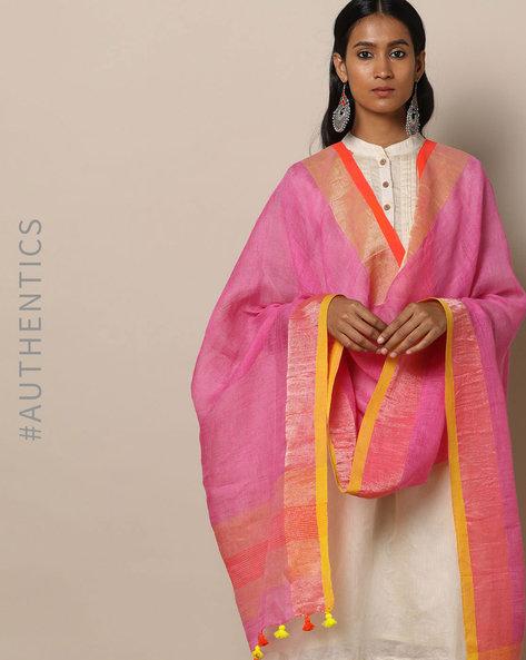 Handloom Linen Dupatta With Pom-Pom Detail By Indie Picks ( Pink )