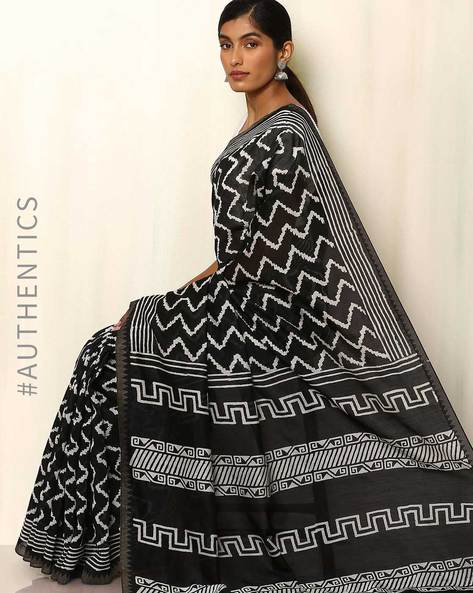 Bagru Handblock Patri Print Chanderi Saree By Indie Picks ( Black ) - 460041457001