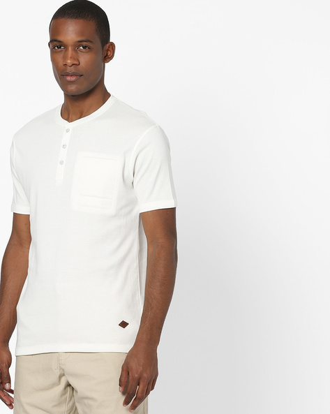 Henley T-shirt With Chest Pocket By DNMX ( Offwhite )