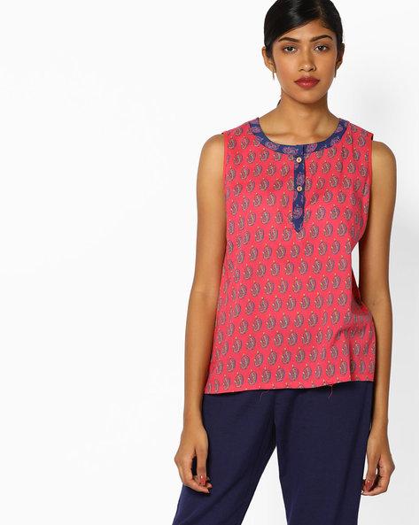 Paisley Print Sleeveless Tunic By AJIO ( Pink )