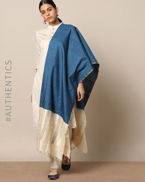 Handloom Pure Silk Tussar Muga Dupatta By Indie Picks ( Blue )