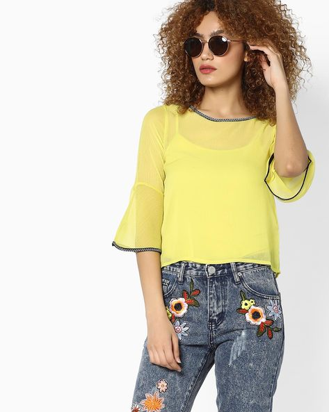 High-Low Top With Bell Sleeves By CODE By Lifestyle ( Green )