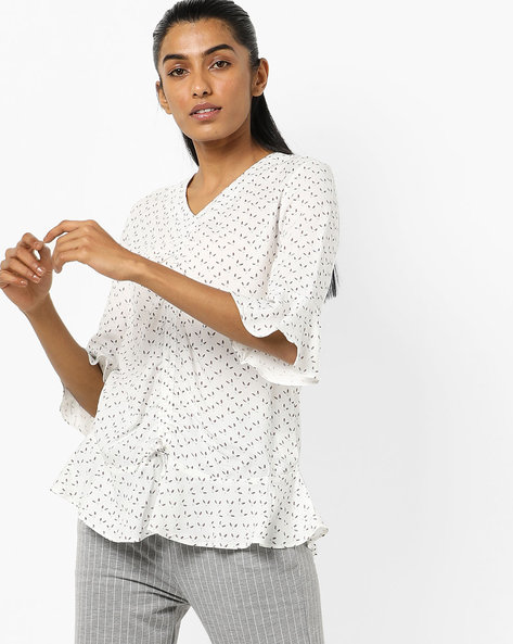 Printed Top With Flounce Hem By AJIO ( White )