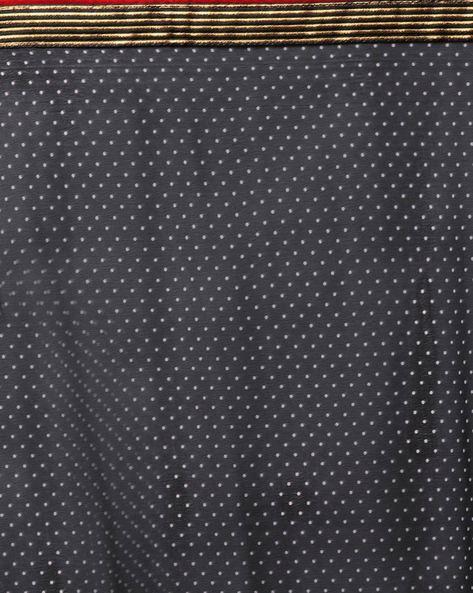Polka-Dot Saree With Striped Border By Vastrangi ( Brown )