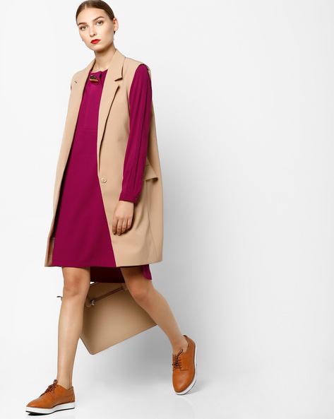 Full-Sleeved Shift Dress With Step Hemline By AJIO ( Pink )