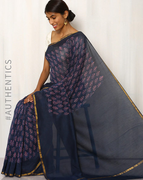Hand Block Printed Maheshwari Saree By Indie Picks ( Navyblue )