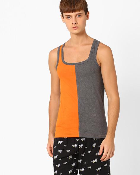 Colourblock Cotton Fashion Vest By CHROMOZOME ( Orange )