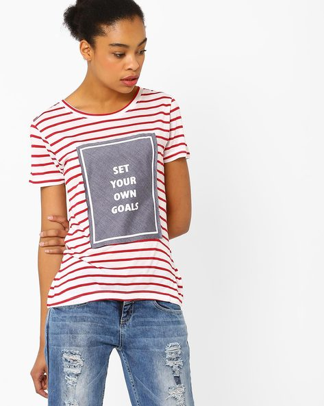 Striped Knit T-shirt By TEAM SPIRIT ( Red )