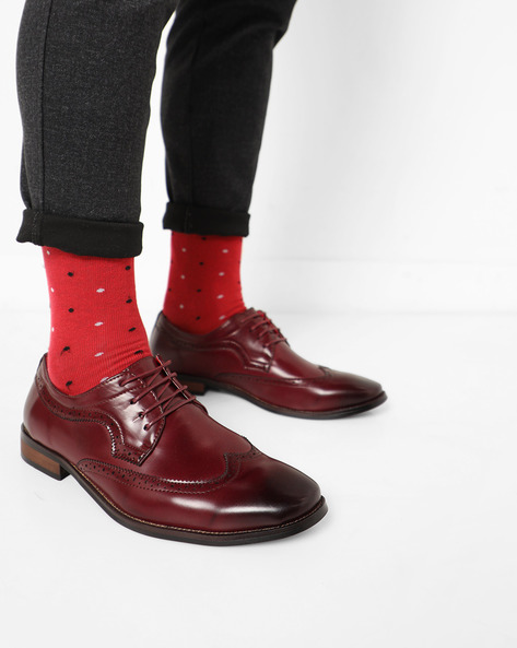Ombre-Dyed Brogue Shoes By AJIO ( Maroon )