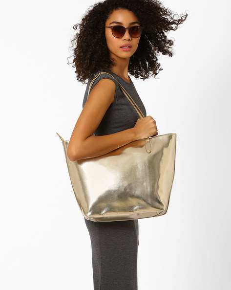 Glossy Tote Bag With Zipper By AJIO ( Gold )